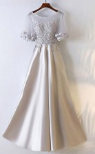 A Line Silver Satin Long Party Prom Dress With Illusion Neckline  JTA6891