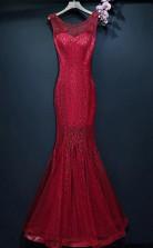 Burgundy  Long Prom Mermaid Formal Dress With Lace Sleeveless  JTA6901