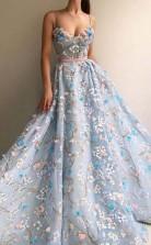 Spaghetti Strap Flower Applique Sky Blue Prom Formal Dress JTA6941