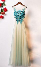 A Line Crew Floor-Length Sleeveless Tulle Prom Dress with Appliques  JTA7011