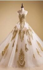 A line Evening Dress Lace Quinceanera Prom Dress with Gold Appliques  JTA7031