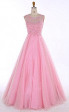 Scoop Floor-length Backless Pink Prom Dress With Beading Appliques  JTA7041