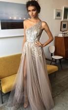 One Shoulder A Line Shinning Side Split Elegant Long Prom Dress JTA7071