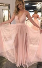 Charming A Line V Neck Backless Chiffon Slit Pink Long Prom Dress JTA7101