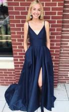 Straps Navy Blue Satin Long Prom Formal Dress with Side Split JTA7111