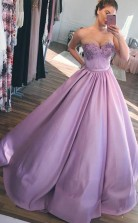 Ball Gown Sweetheart  Lavender Long Prom Dress with Appliques JTA7121