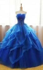 Royal Blue Ball Gown Organza Lace Applique Cheap Prom Dress JTA7141