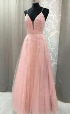 A Line V Neck Spaghetti Straps Open Back Blush Lace Long Prom Dress JTA7201
