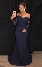 Mermaid Navy Blue Off The Shoulder Long Prom Dress with Long Sleeves JTA7231