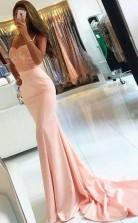 Mermaid Spaghetti Straps Sweep Train Pink Stretch Satin Prom Dress JTA7251