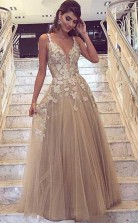 A Line Deep V Neck Tulle Prom Formal Dress with Lace Appliques JTA7291