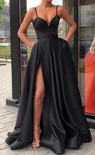 A Line Sweetheart Spaghetti Straps Black Satin Split Long Prom Dress JTA7301