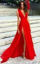 Red Split Deep V Neck Chiffon Sexy V Back Prom Formal Dress  JTA7331