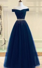 A Line Off The Shoulder Navy Blue Tulle Prom Dress With Beading  JTA7371