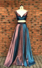 Two Pieces V Neck Sleeveless Sweep Train Stain Prom Evening Dress  JTA7381