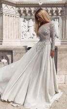 Grey Long Sleeves Backless Chiffon Prom Evening Dress with Beading  JTA7391