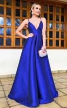 A Line Spaghetti Straps Floor Length Royal Blue Satin Prom Dress  JTA7401