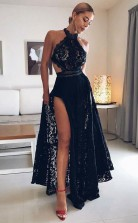 A Line Halter Floor Length Black Open Back Lace Prom Dress with Split  JTA7421
