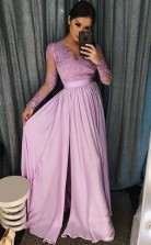 A Line V Neck Purple Satin Prom Evening Dress with Appliques Beading  JTA7431