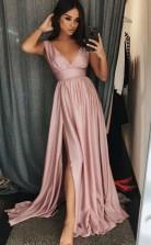 A Line V Neck Sleeves Pink Satin Prom Evening Dress with Split  JTA7441
