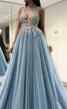 Decent Scoop Sky Blue Open Back Long Formal Prom Dress with Appliques  JTA7471