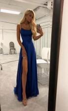 High Slit Spaghetti straps Royal Blue Long Prom Evening Dress  JTA7501