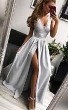 Elegant A Line V Neck Open Back Split Light Grey Lace Long Prom Dress  JTA7511