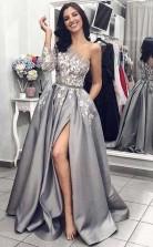 One Shoulder Long Sleeves Grey Satin Split  Prom Dress with Pockets JTA7521