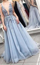 Elegant V Neck Backless Light Blue Appliques Long Prom Dress JTA7541