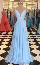 V Neck Open Back Spaghetti Straps Light Blue Long Prom Dress with Beading JTA7551