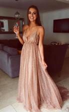 Sparkle Backless Plunging Neckline Sequin Long Prom Evening Dress JTA7571