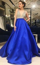 A Line V Neck Low Cut Royal Blue Satin Prom Evening Dress with Beading JTA7581