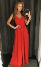A Line V Neck Backless Satin Floor Length Red Satin Prom Dress JTA7601