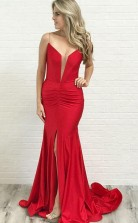Mermaid Spaghetti Straps Low Cut Red Satin Prom Party Dress with Split JTA7611