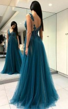 A Line V Neck Split Turquoise Tulle Prom Dress with Appliques Beading JTA7631