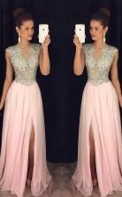 A Line Round Neck Pink Chiffon Split Long Prom Dress with Beading JTA7651