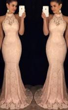 Elegant Mermaid Halter Open Back Peach Lace Long Prom Dress JTA7661
