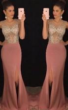 Mermaid Round Neck Blush Split Long Prom Dress with Beading JTA7671