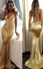 Royal Blue Satin Backless Long Mermaid Prom Formal Dress JTA7691