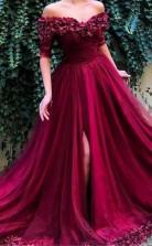 Burgundy Off the Shoulder Maroon Long Prom Evening Dress JTA7721