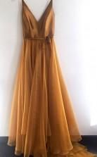Spaghetti Strap A Line V Neck Formal Cheap Long Prom Evening Dress JTA7741