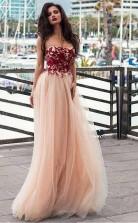 Strapless Blush Prom Dress Lace Appliqued Tulle Formal Evening Dress JTA7751