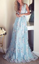Sky Blue V Neck Prom Dress Embroidery Formal Dress Evening Gowns JTA7761