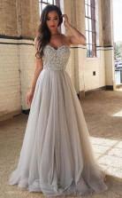 A LinePrincess Sweetheart Neck Silver Tulle Long Prom Dress JTA7821