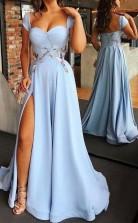 Sweetheart Neck Cap Sleeve Light Blue Floor Length Prom Dress with Split JTA7891