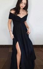 A Line Off the Shoulder Side Split Black Satin Black Long Prom Dress JTA7941