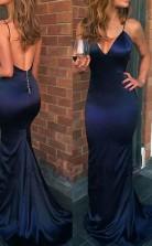 Mermaid V Neck Spaghetti Straps Navy Blue Elastic Satin Long Prom Dress JTA7951