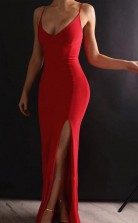 Sheath V Neck Spaghetti Straps Red Elastic Satin Long Prom Dress JTA7971