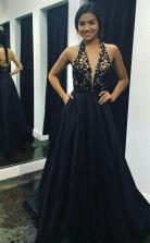 A Line V Neck Sweep Train Black Satin Prom Dress with Appliques Pockets JTA7991
