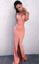 Sheath V Neck Open Back Blush Pink Split Long Prom Evening Dress JTA8001